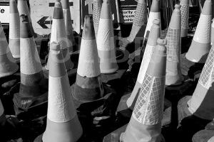 The cones line-up, Ron Yeat on the right...