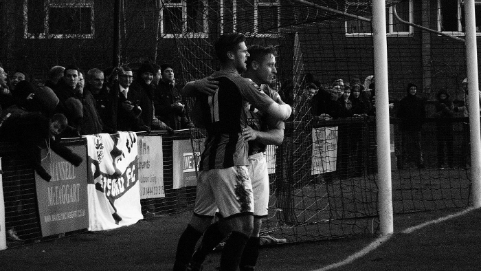 Pat Harding is congratulated after his equaliser for Burgess Hill