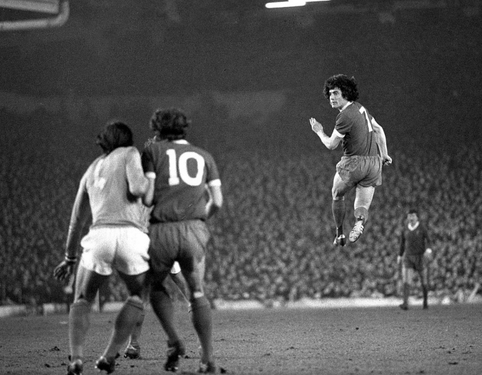 The dynamic duo...Keegan leaps, Toshack (10) waits in the epic with St. Ettiene