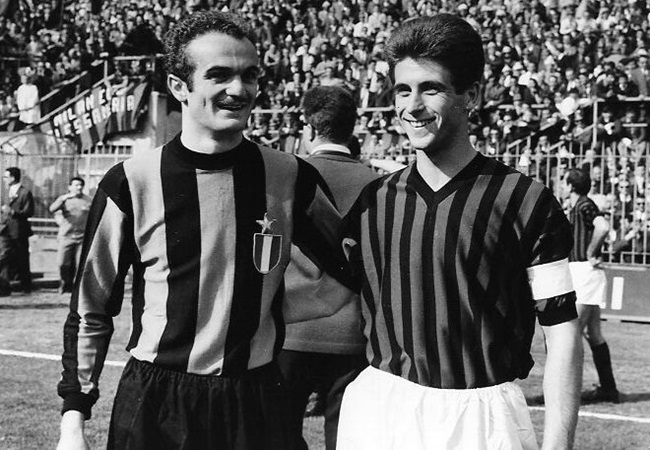 Mazzola (Inter) and Rivera (Milan) - the ghosts that roam the San Siro...
