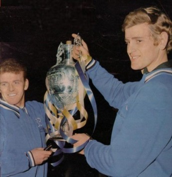 1968-69 Bremner and Sprake with Championship Trophy April 1969