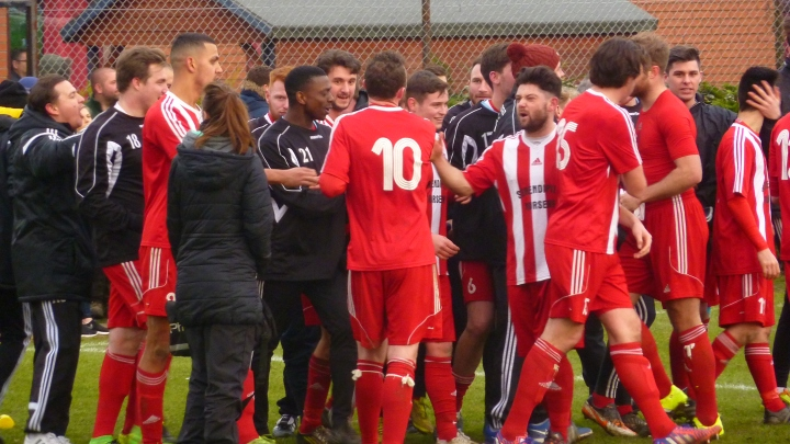 Bowers players celebrate after their 4-0 win