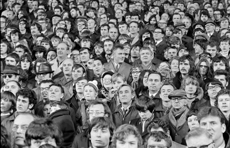 LIVERPOOL.UK. 29.01.1971 The Spion Kop crowd.