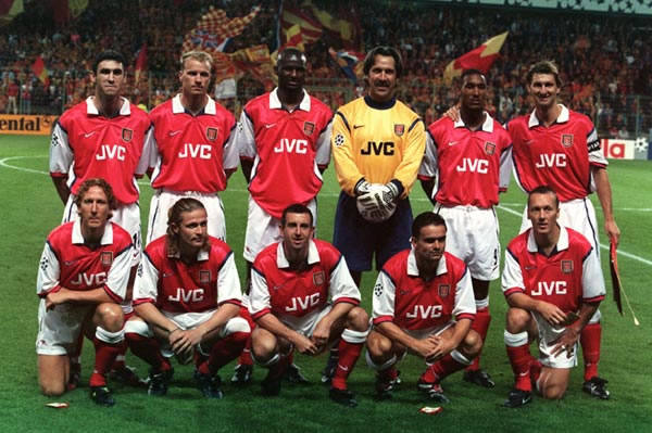 A rare sight these days - six Englishmen in an Arsenal shirt