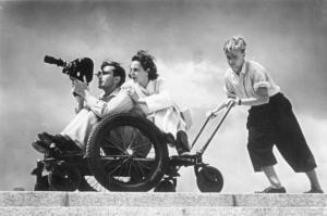 Leni Riefenstahl filming at the stadium, 1936