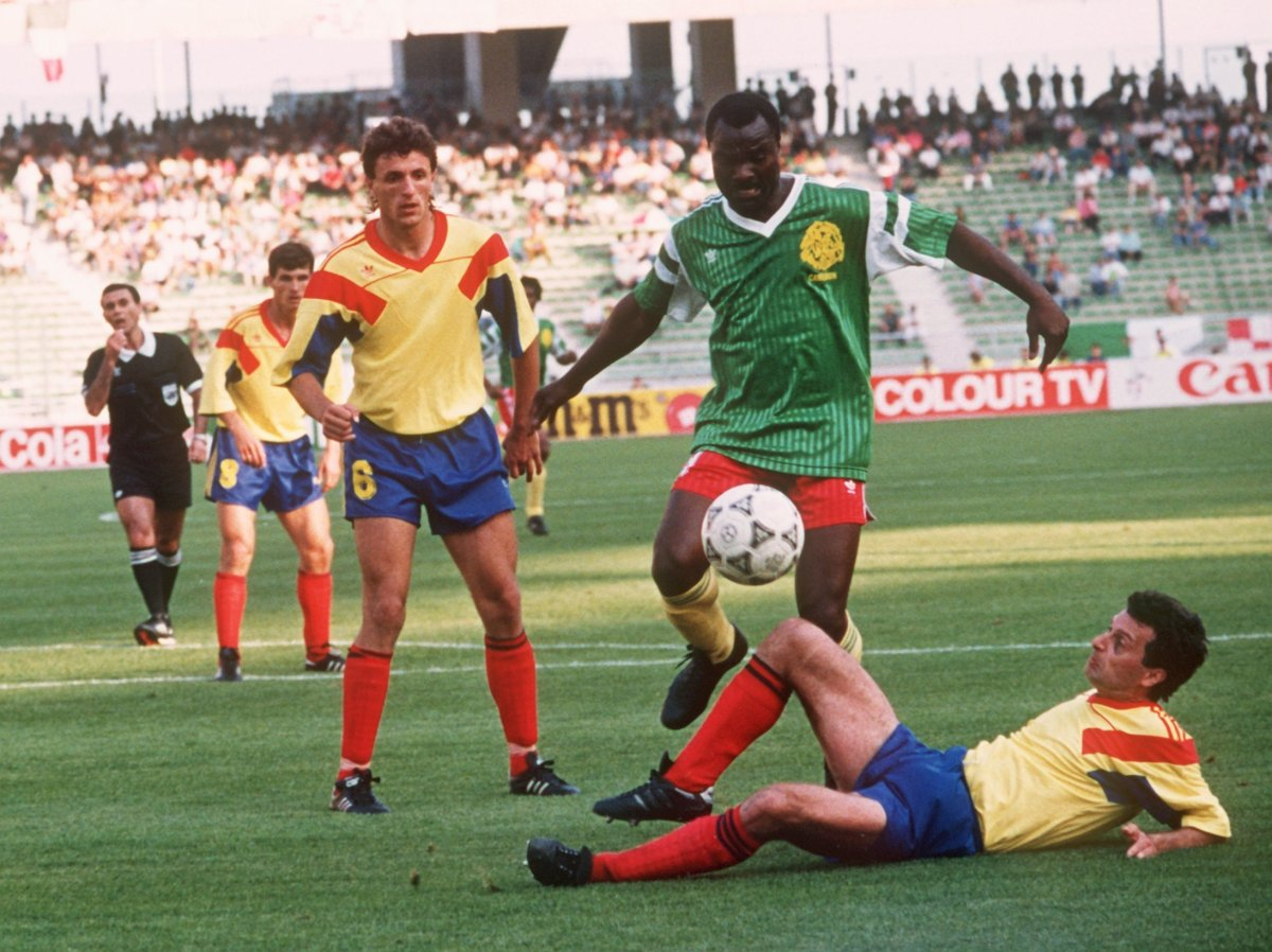 38-year-old Roger Milla (centre) from Cameroon was one of the stars of Italia 90. Photo: PA