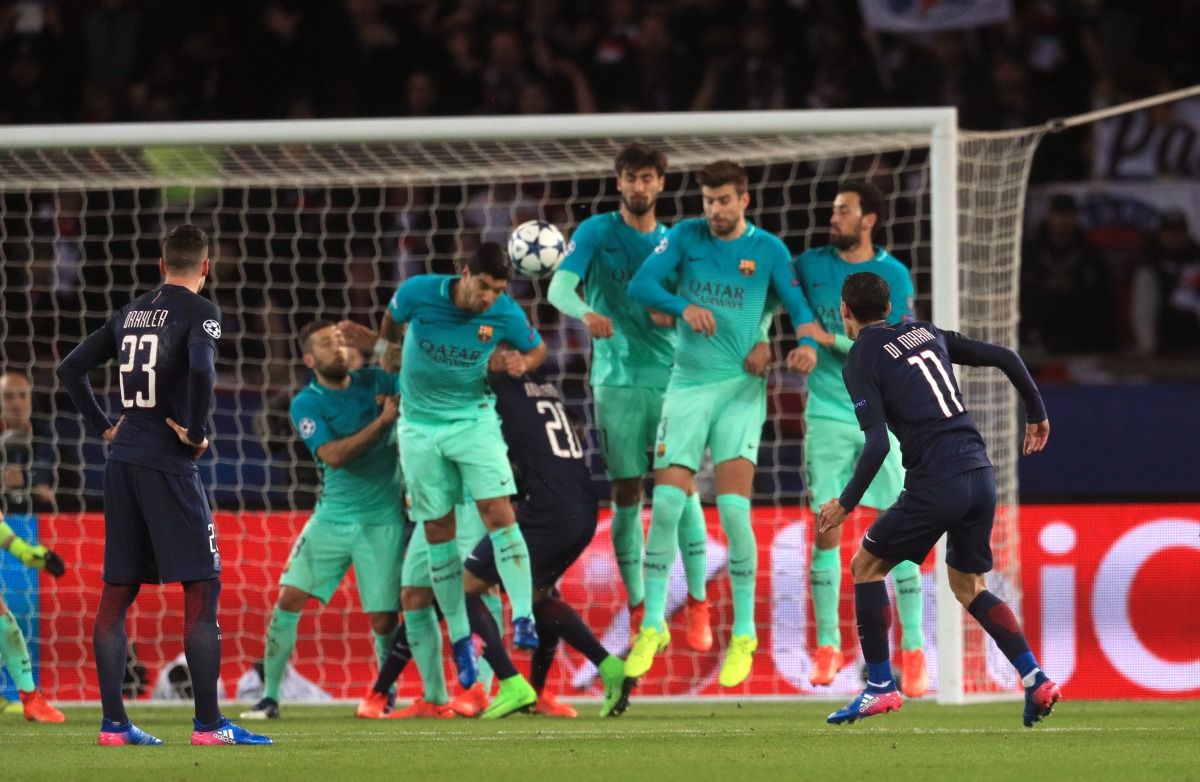 Angel of no mercy - Di Maria scores for PSG against Barca. Photo: Press Association