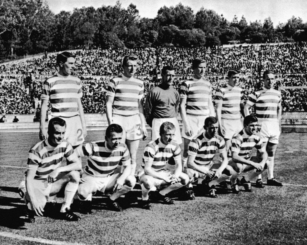 The Celtic team line up before defeating Inter Milan to win the European Cup: (back row, l-r) Jim Craig, Tommy Gemmell, Ronnie Simpson, Billy McNeill, Bobby Murdoch, John Clark (front row, l-r) Stevie Chalmers, Willie Wallace, Jimmy Johnstone, Bobby Lennox, Bertie Auld Photo: PA
